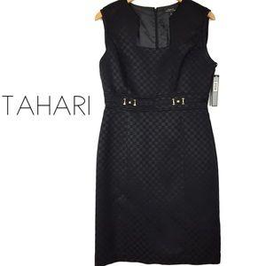 Tahari jacquard LBD little black dress size 8